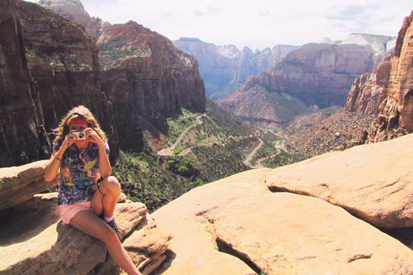 After climbing up to the top of Zion National Park, Utah, USA