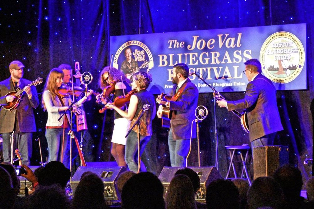 Triple fiddles with Becky Buller Band at 2017 Joe Val Bluegrass Festival