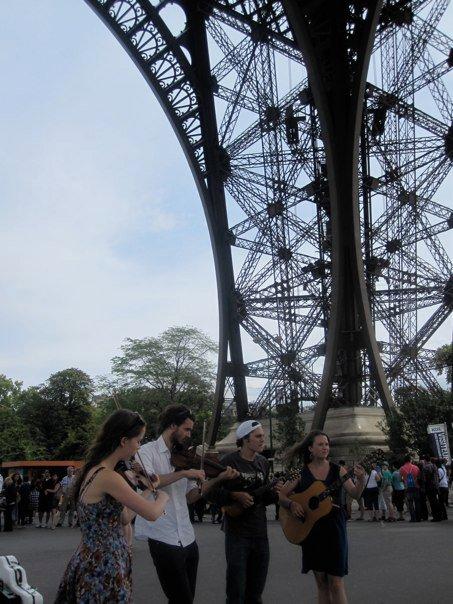Busking underneath the Eiffel Tower, 2011