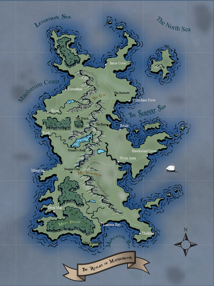 There are definitely things I would do different, (like digitizing the rivers completely next time).  But overall, this was a good learning experience.  Inspiration from Nathan's tutorials at WASD20 on Youtube and Johnathan Roberts' amazing work at Fantasticmaps.com.