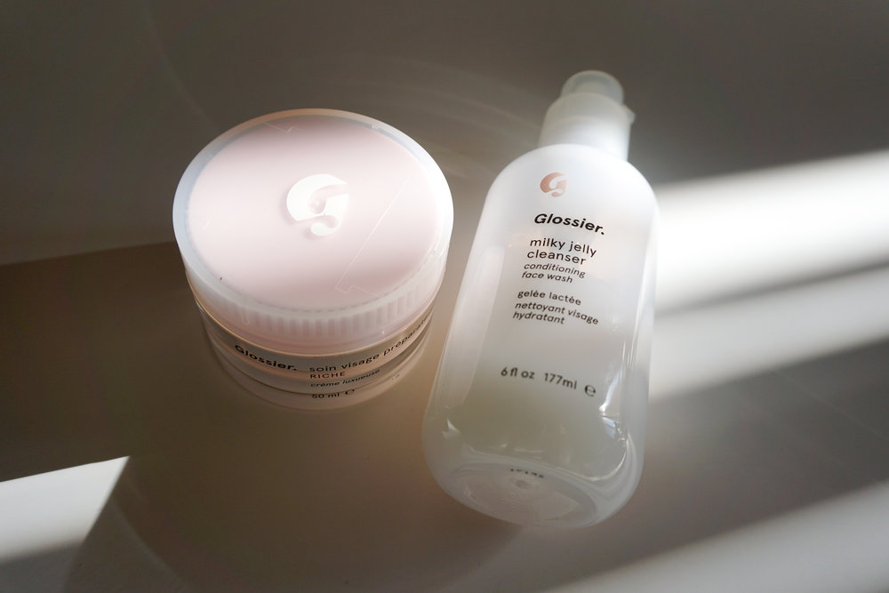 glossier milky jelly cleanser & priming moisturizer rich
