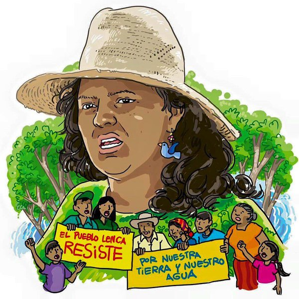 Berta Cáceres Flores, a leader of the Lenca indigenous community of Honduras and co-founder of COPINH was assassinated in March 2016 due to her resistance of dam construction on the Gualcarque River