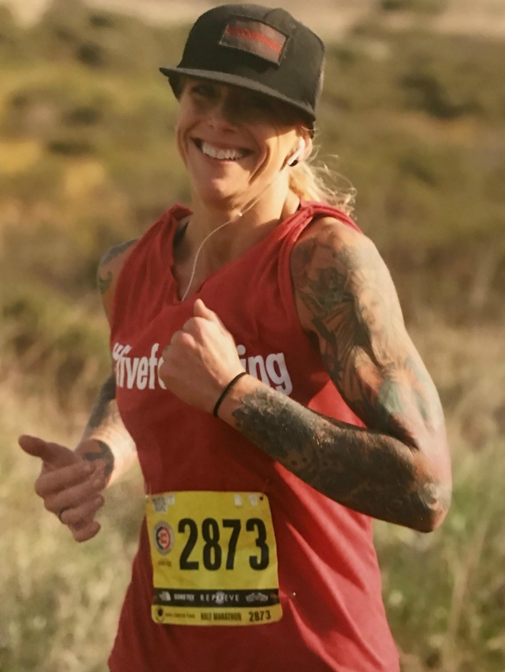 Holly  , one of our #LLSP athletes, completing her first half-marathon at the North Face Endurance Challenge. Of course, with a smile on her face, as usual.