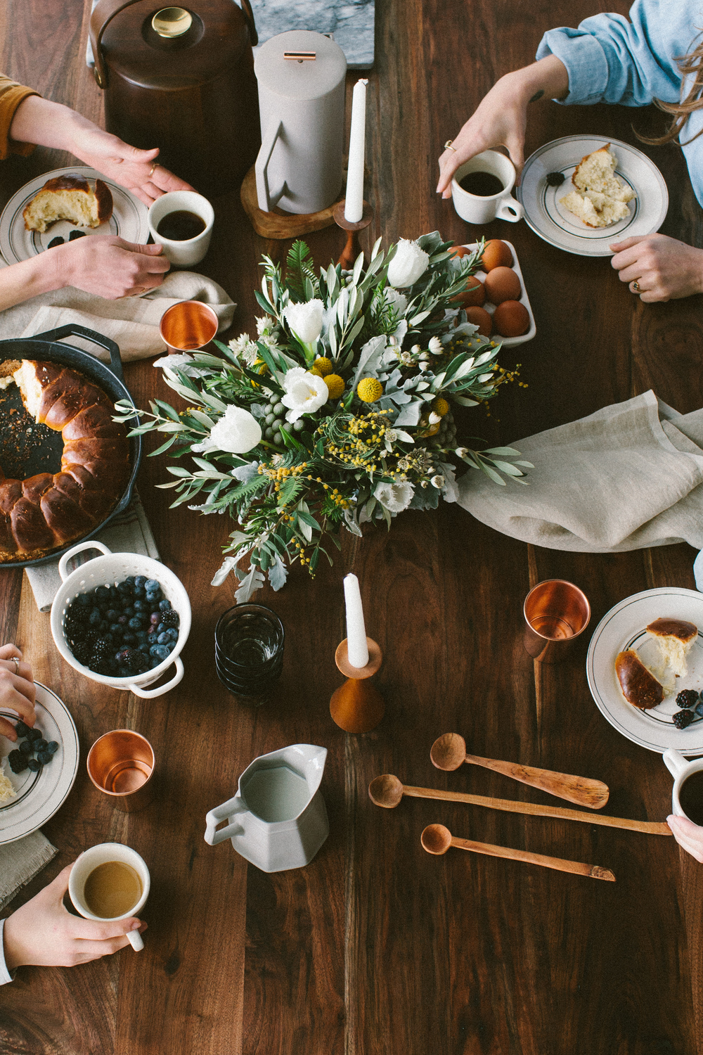 Styled Bridal Brunch. A modern palate with earth tones, natural materials, and mid-century design. Photography by Christina Foret. Venue & Styling by Atomic Furnishing in Asheville, North Carolina.