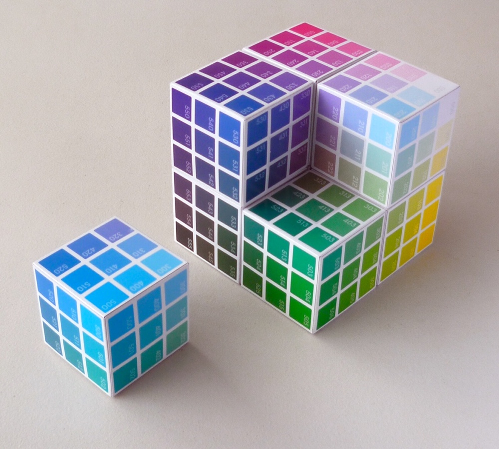 As 1 of 8 Corner Colours, the Cyan Cube is 1 of 8 Corner Cubes that fit together to make the bigger BTC Colour Cube, showing the Hues, Tints, and Shades on the outside, and the Tones on the inside