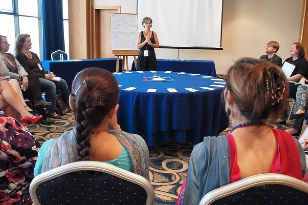 Kopila and Wendy look on from their front row seats during my 'BreakThroughColour' presentation in Malta in 2014