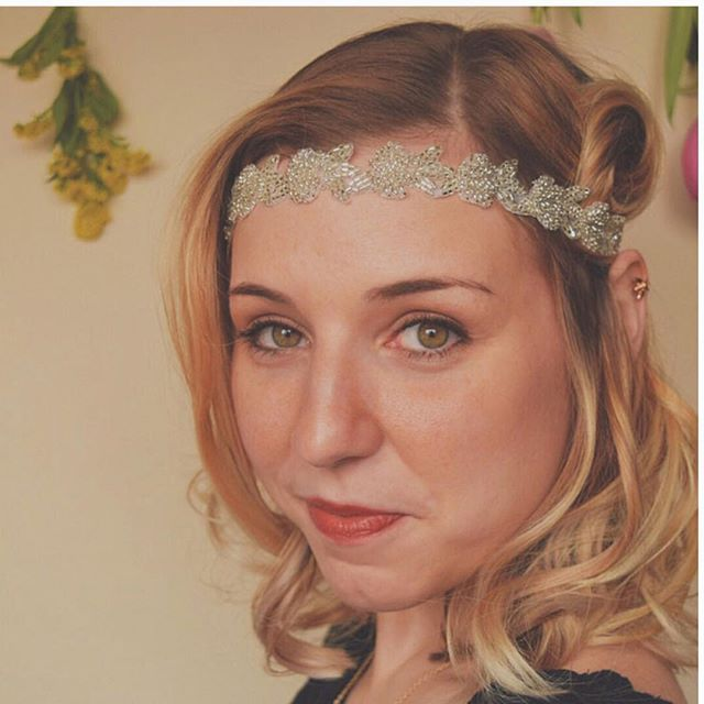 This headpiece is perfect for a New Years Eve wedding. Shop at link in bio. #jdhbloom #bridalhair #headpiece #headband #newyearseve