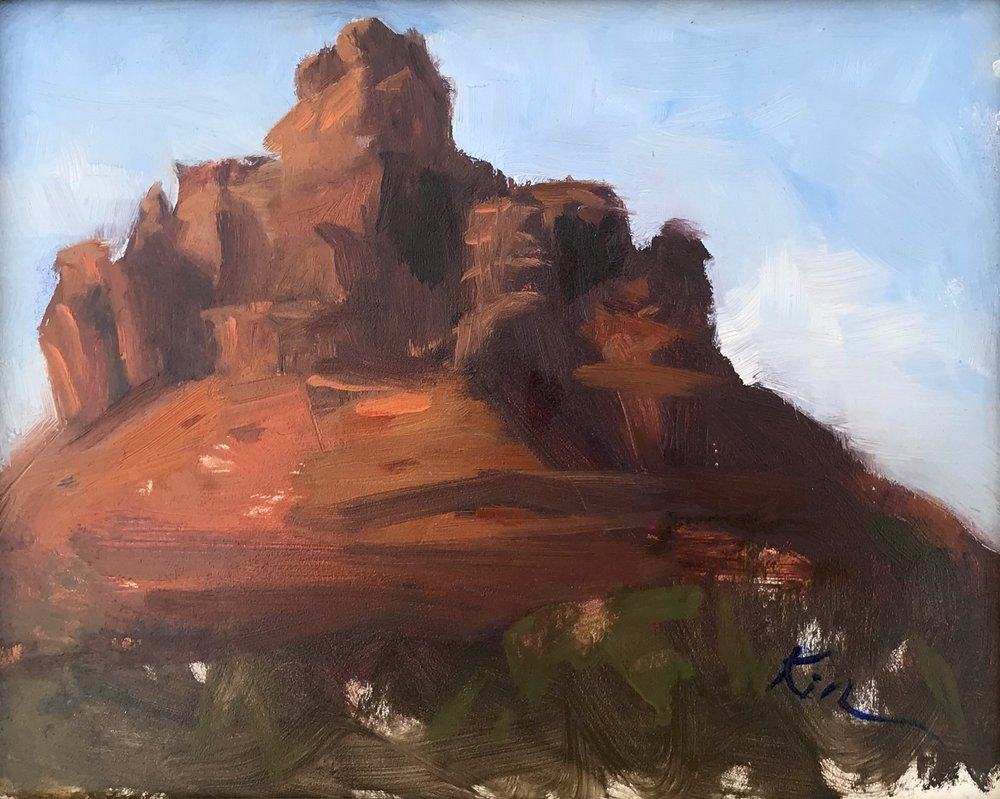 Bell Mountain, Sedona. Plein air study by Kimber Scott.
