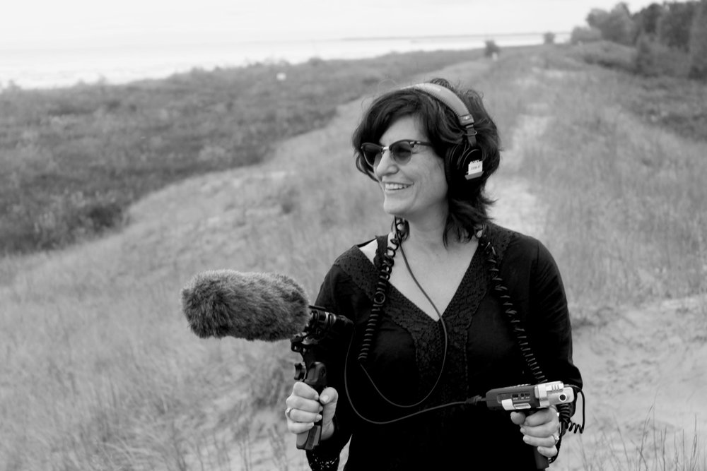 Debra Tolchinsky recording sound at Point Beach State Park for the documentary True Memories and Other Falsehoods