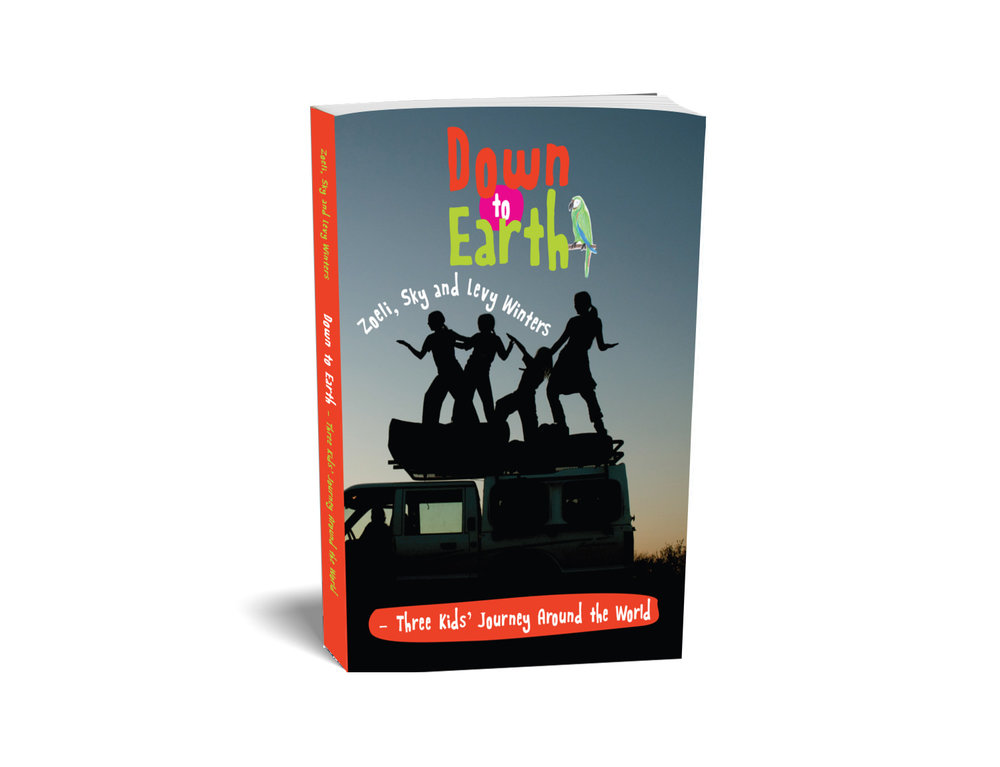 Down to Earth - A Kid's Journey Book Around the World   Join the Winters children as they journey around the world in search of the keepers of the Earth. This fascinating project is based on home-schooling on the road. See the complete journey through their observations and experiences gained during their encounters with nature and indigenous people. Gain a more intimate look into the experiences that shaped the award-winning film DOWN to EARTH. This fun, honest and colourful journal is a wonderful collaboration between the three children and truly is an engaging read for any age.  Written and illustrated by Zoeli, Sky and Levy Winters   Height:  210 mm  Width:  150 mm  Depth:  15 mm  Length:  288 pages   Paperback – Full-colour illustration and photography throughout    ISBN : 978-90-827457-0-2      Click on images below to scroll.