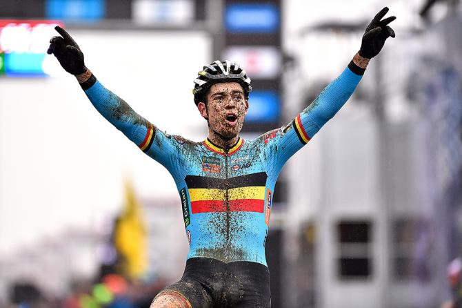 The ridiculously muddy Wout Van Aert wins the World Championship