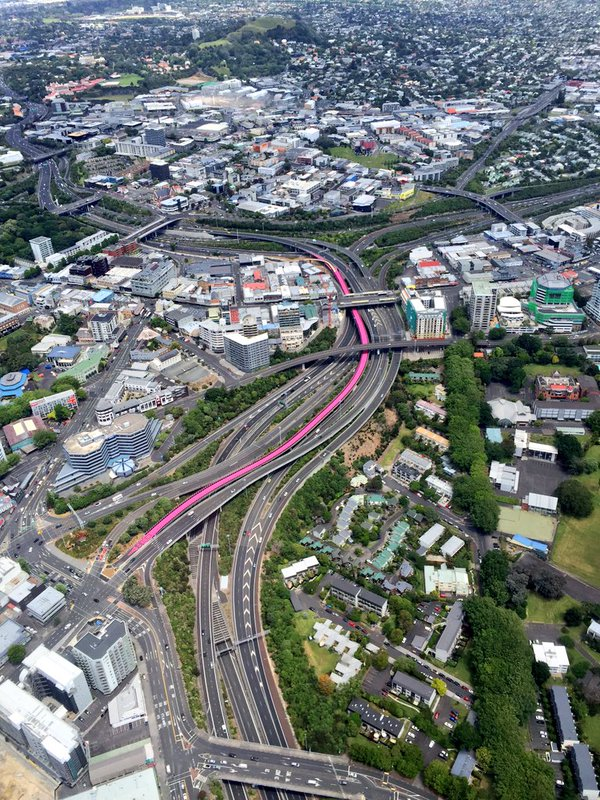 Not highlighted for the photo, this is the actual appearance of the Auckland Lightpath from the air. it joins the Great Wall of China as one of the few man-made constructions visible from outer space.