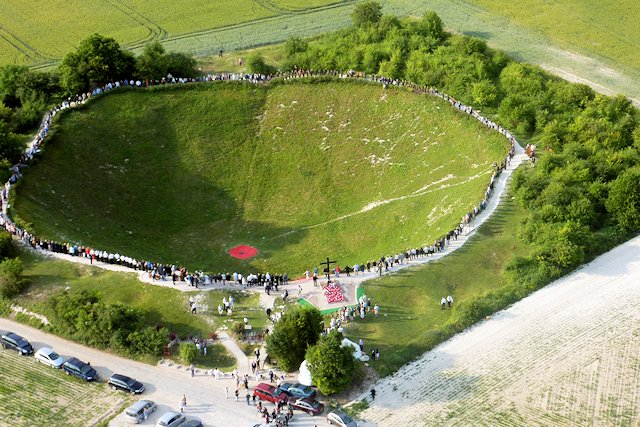 Lochnagar Crater France; 91 metres across and the largest crater ever made by man in anger; now a memorial to peace for future generations.