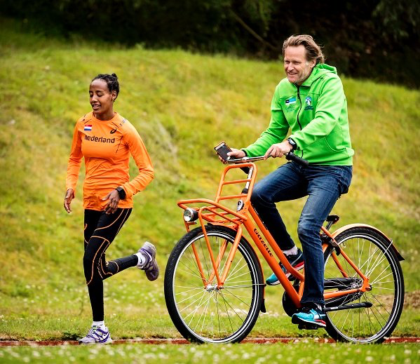Netherlands athlete  Dafne Schippers   and her coach on a training session in Rio