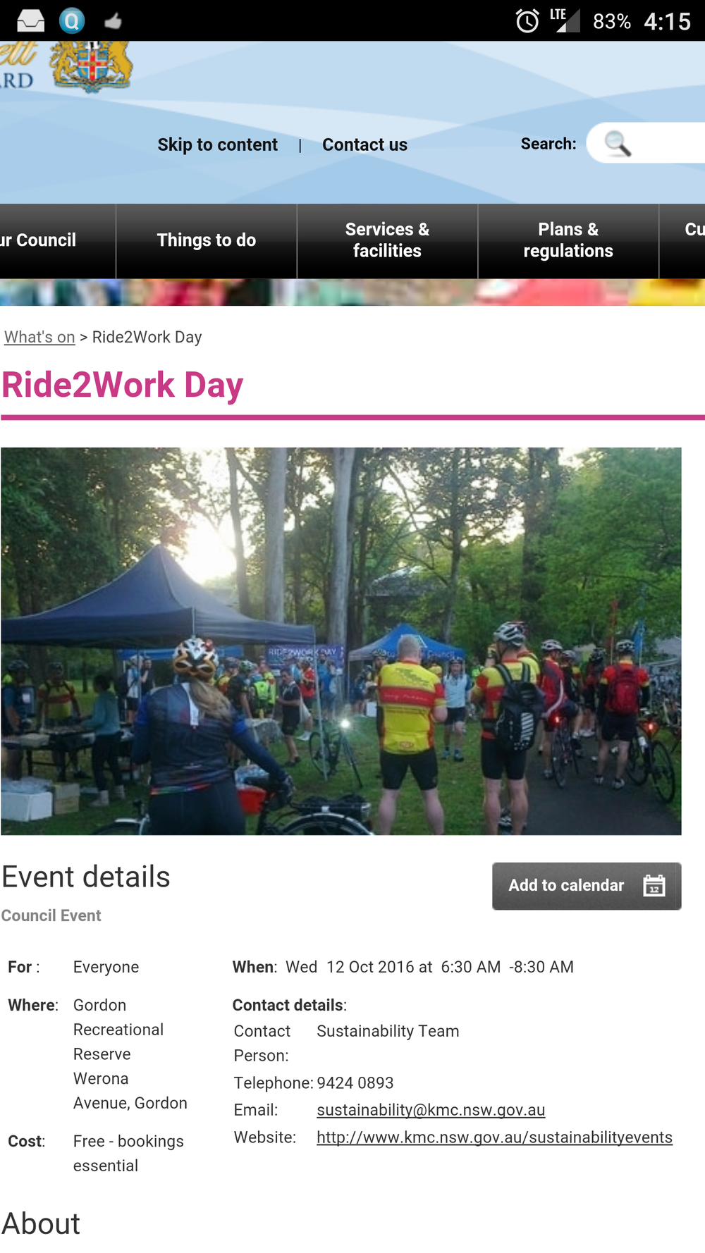 Who's that in the foreground with her back to the camera ? C'est moi !  Bundled up like an Eskimo, but present and probably totally wired on adrenalin.    Kuringai Council using a pic of my backside from 2015 to promote the 2016 Ride2Work day. This year I was interviewed and had my pictures taken at several free breakfasts along the route. In all of them i am sans make-up, a bit pink-cheeked from the ride, messy wisps of hair escaping from my helmet, but the smile can be seen from outer-space. Progress indeed ...