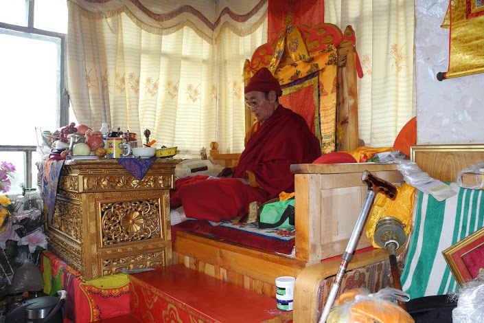 Rinpoche leading the tsok.