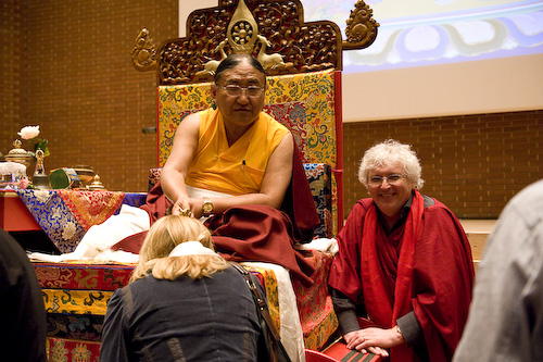 Hi Holiness gives blessings at the completion of the Kalachakra initiation