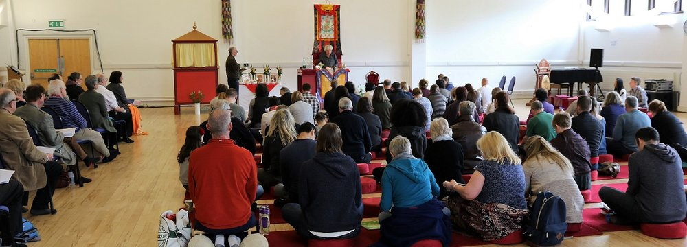 Students hearing the Dharma in Harrogate, April 2017
