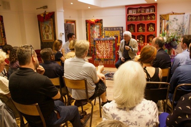 Lama Jampa answering questions on his new book, Wisdom in Exile