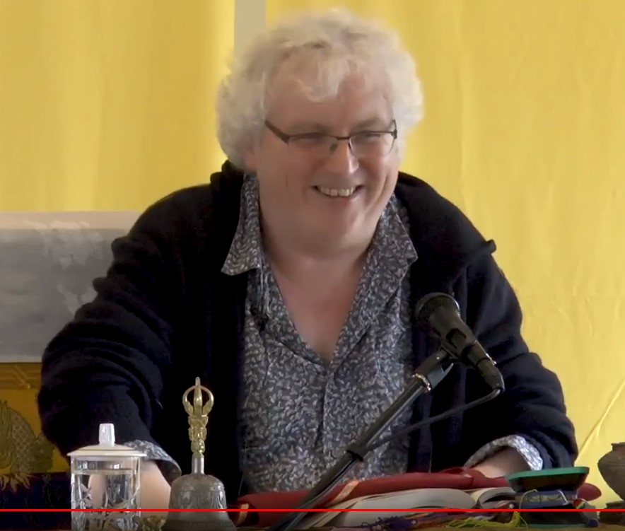 Lama Jampa showing that a sense of humour does help when it comes to practising the mind training. It can help us to lose our sense of self-importance.