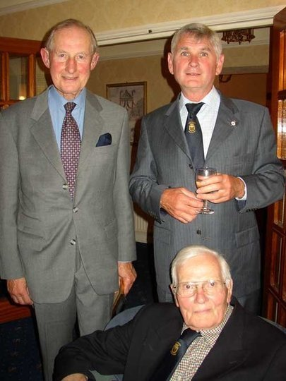 Lindsay seated with our President Vice Admiral Sir Geoffrey Dalton and David Baker Chairman at the 2007 Reunion in Southsea
