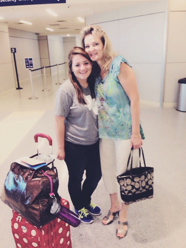 Felicia and Audrey sharing a tearful goodbye before Audrey moved to Spain for two years.