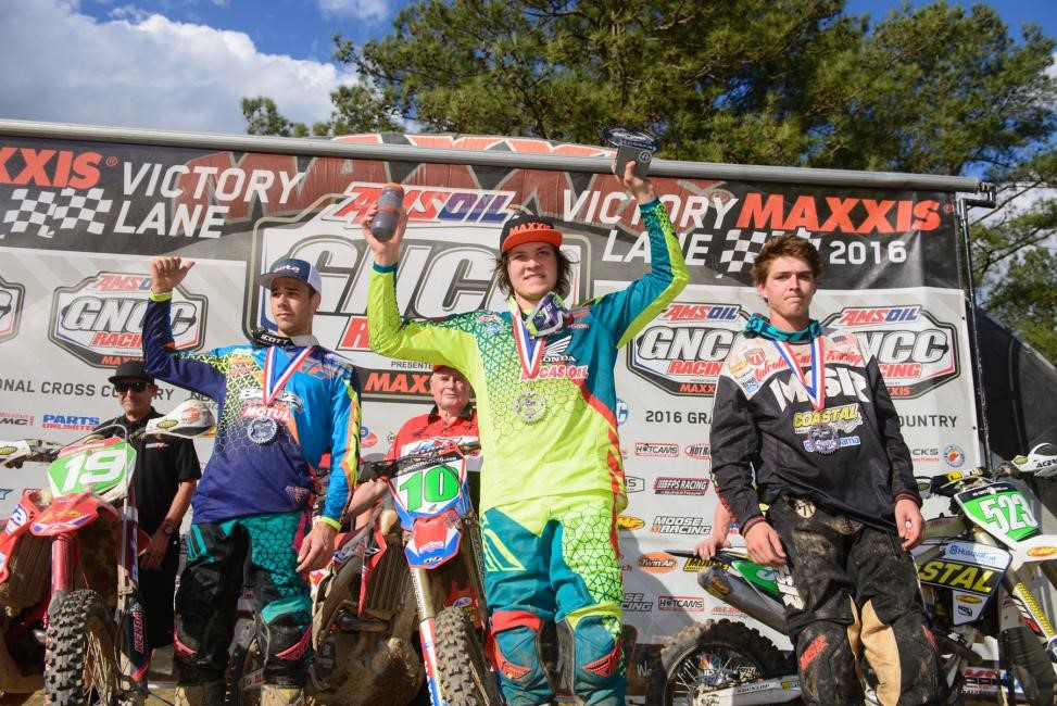 XC2 Podium: (2) Jesse Groemm, (1) Trevor Bollinger, (3) Layne Michael. Photo: Ken Hill.