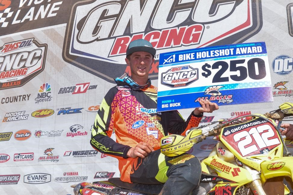 Ricky Russell took home an extra $250 courtesy of All Balls Racing for grabbing the XC1 Pro Holeshot. Photo: Ken Hill.