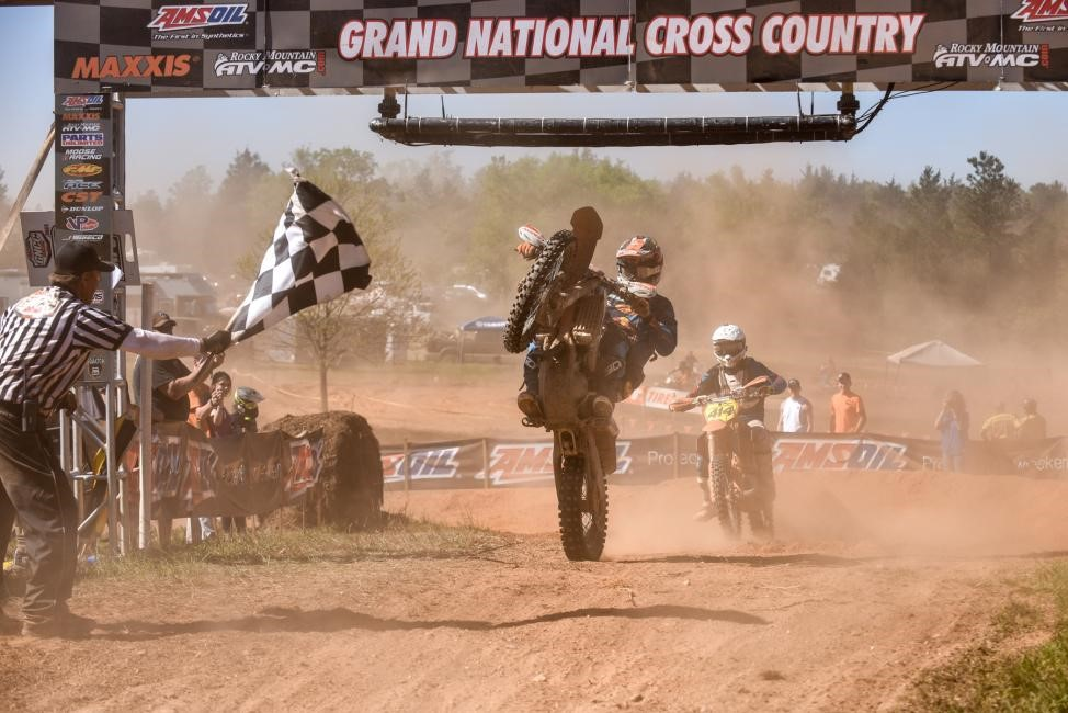 Kailub Russell celebrates his second overall win of the season. Photo: Ken Hill.