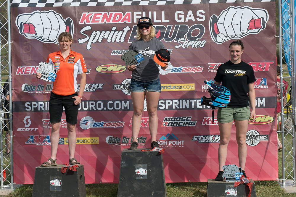 Women's podium L to R: Rachel Gutish (2nd), Brooke Cosner (1st), and Shawn Davidson (3rd). Photo by Shan Moore.