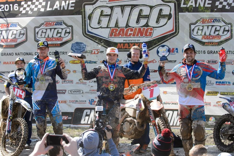 Overall Podium: (2) Josh Strang, (1) Kailub Russell, (3) Thad Duvall. Photo: Ken Hill.