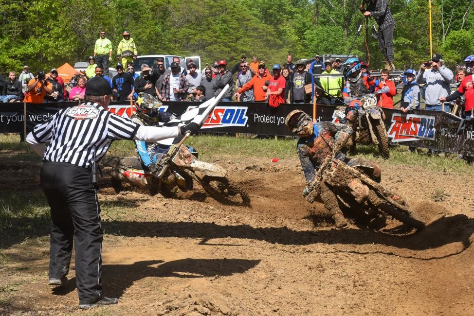 Kailub Russell and Josh Strang were wheel-to-wheel at the finish. Photo: Ken Hill.
