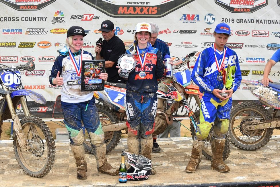 10 a.m. Overall Podium: (2) Tayla Jones, (1) Kacy Martinez, (3) Hayden Vancuren. Photo: Ken Hill.