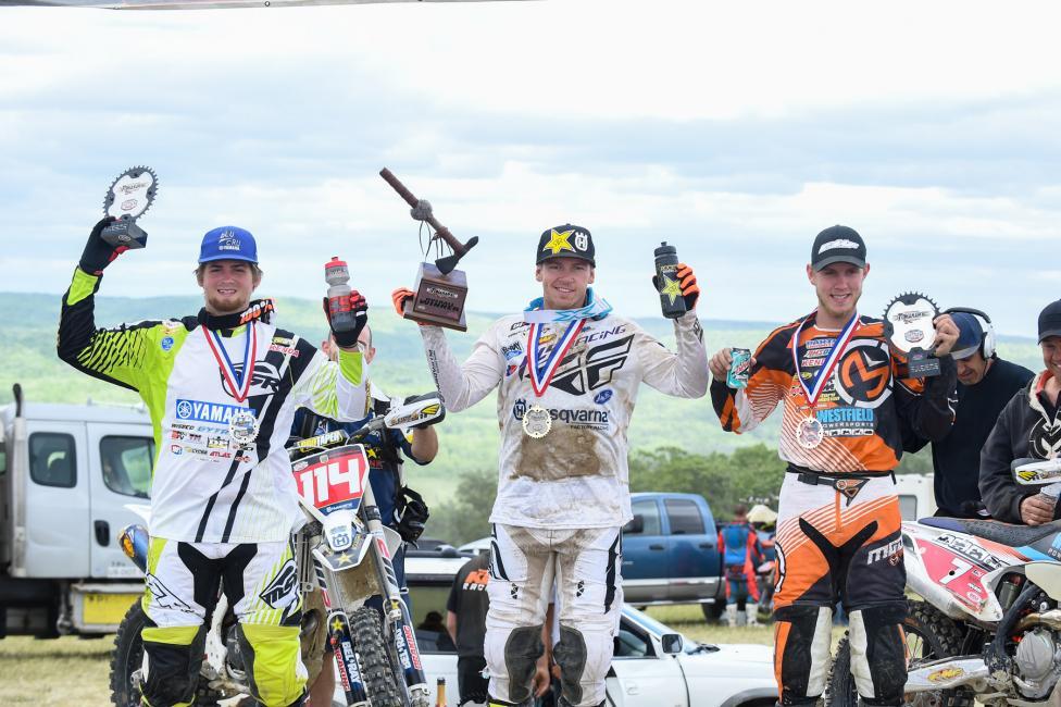 Overall Podium: (2) Grant Baylor, (1) Josh Strang, (3) Jordan Ashburn. Photo: Ken Hill.