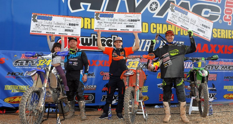 Pro MC Podium (L to R): Gary Sutherlin (2nd), Taylor Robert (1st), and Robby Bell (3rd).