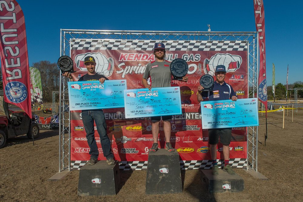 Overall Podium: (L-R) Ryan Sipes (2nd), Steward Baylor (1st), Jordan Ashburn (3rd).