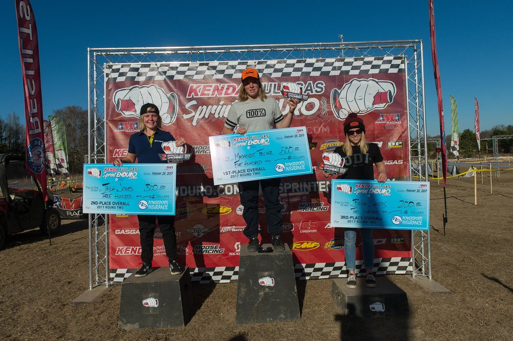 Women's Pro Podium: (L-R) Tayla Jones (2nd), Mackenzie Tricker (1st), Becca Sheets (3rd).