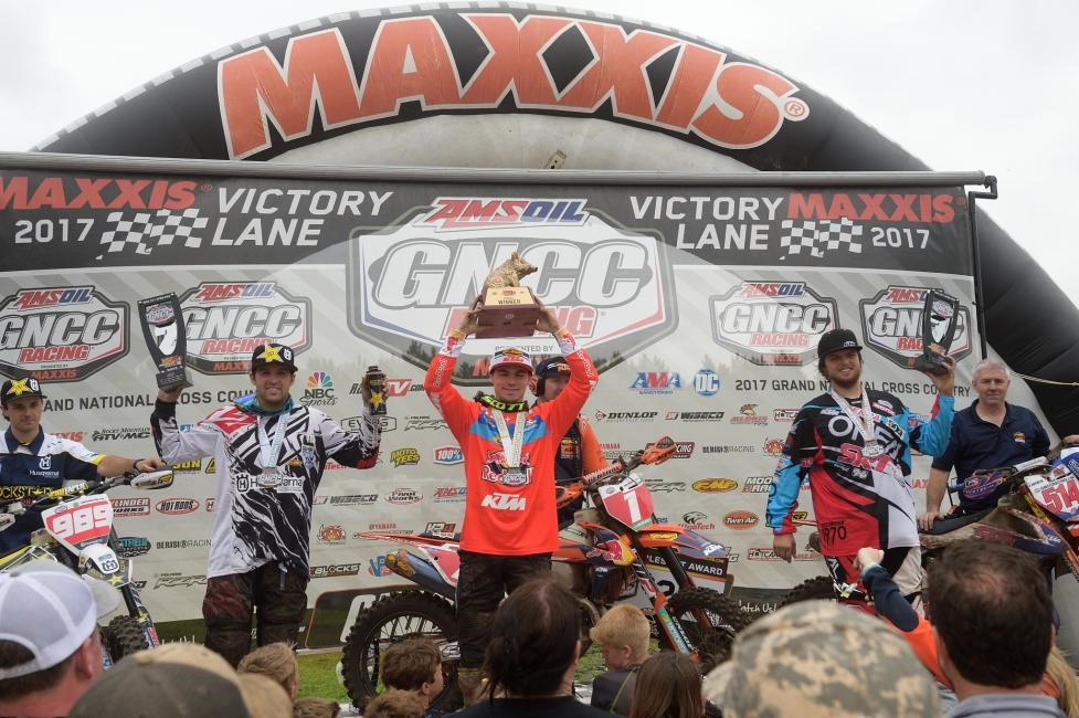 Overall Podium: (2) Thad Duvall, (1) Kailub Russell, (3) Steward Baylor. Photo: Ken Hill.