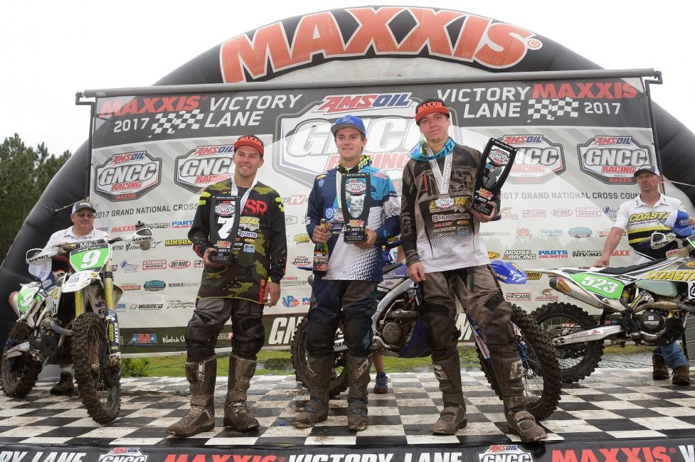 XC2 250 Pro Podium: (2) Craig Delong, (1) Josh Toth, (3) Layne Michael. Photo: Ken Hill.