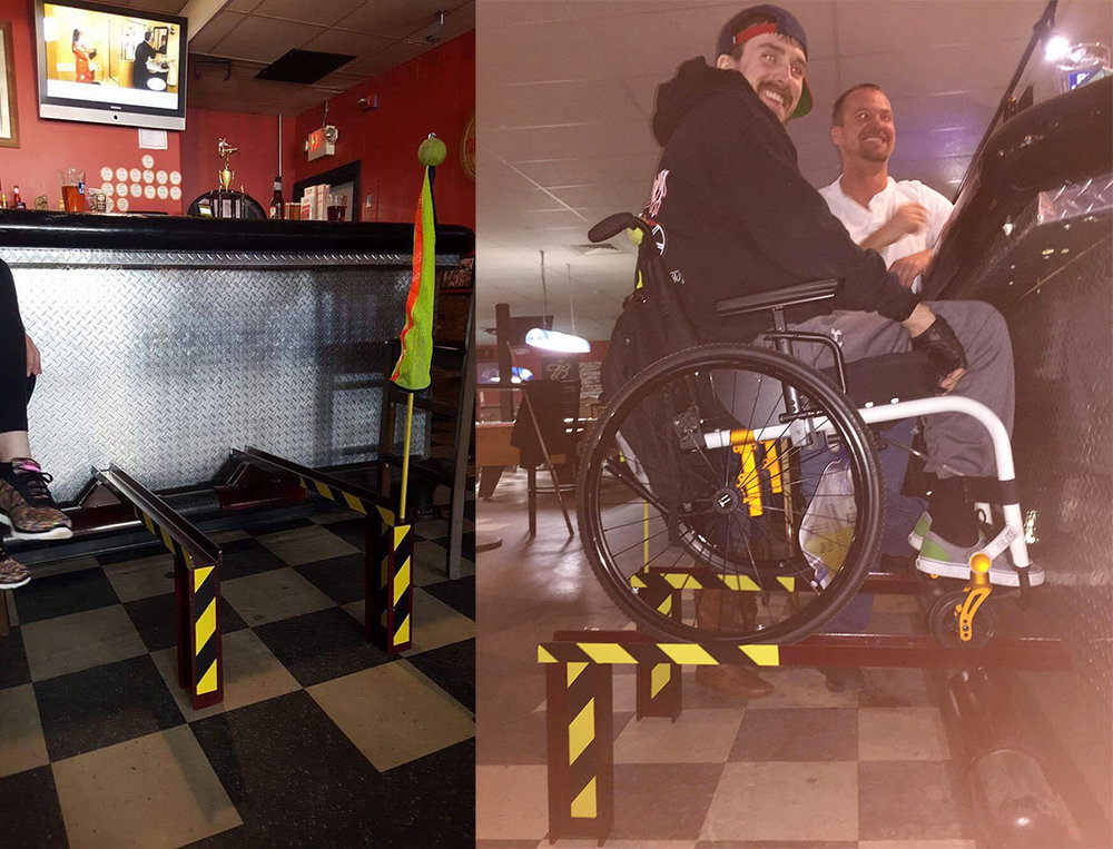 Some of Mike's buddies at his local watering hole decided to build a ramp for him so he could sit at the bar with them again.