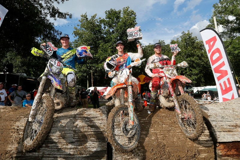 American Cody Webb (center) took the 2016 KENDA Tennessee Knockout win over South Africa's Wade Young (left) and Kyle Redmond (right). All three are planning to be back to compete again in 2017 along with a long list of top off-road racers. Photo: Future7Media.