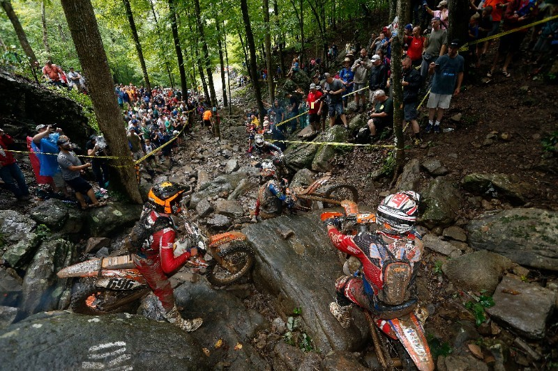 Riders try to negotiate one of the difficult waterfall sections during the 2016 TKO. Photo: Future7Media.