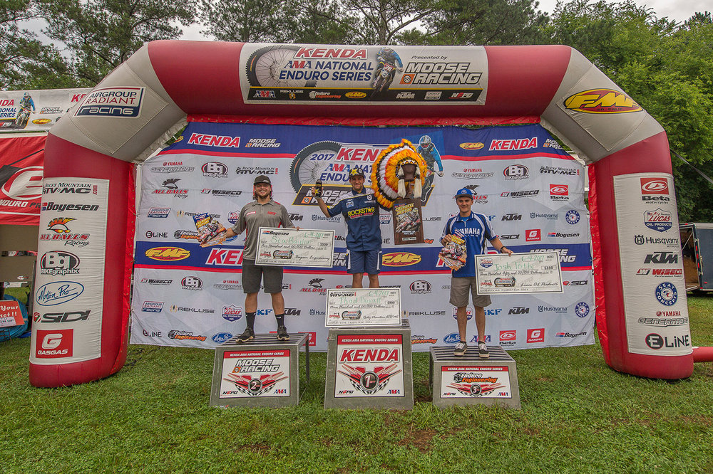 Overall podium (L-R): Steward Baylor (2nd), Thad Duvall (1st), and Josh Toth (3rd). Photo: Shan Moore.