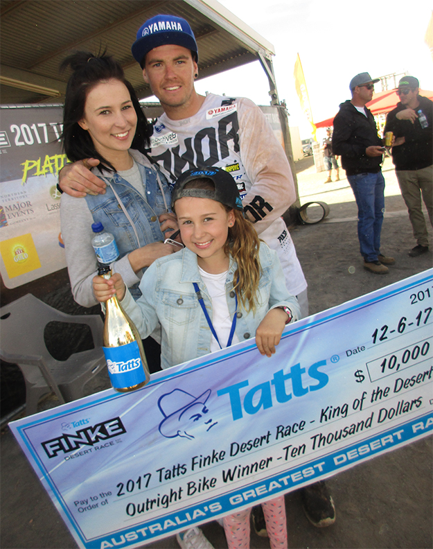 Winner Daymon Stokie with his girlfriend Bridget and her daughter Eilish. Photo: Jerry Bernardo.