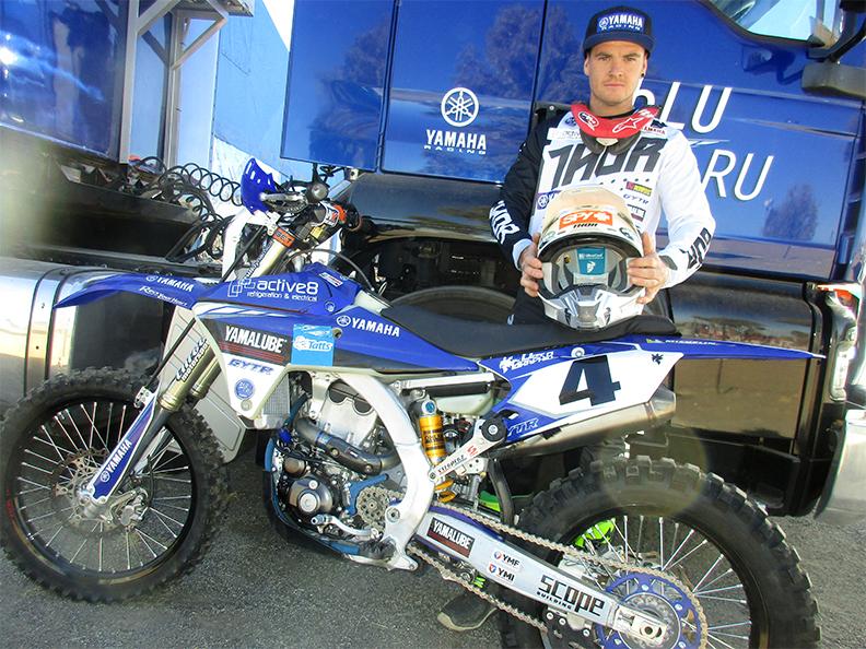 Daymon Stokie before the start with his Yamaha WR500F. Photo: Jerry Bernardo.