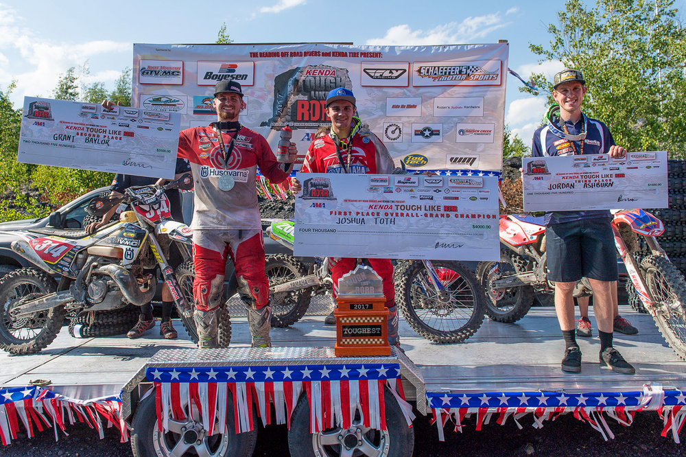 Overall podium (L-R): Grant Baylor (2nd), Josh Toth (Winner), and Jordan Ashburn (3rd). Photo: Shan Moore.