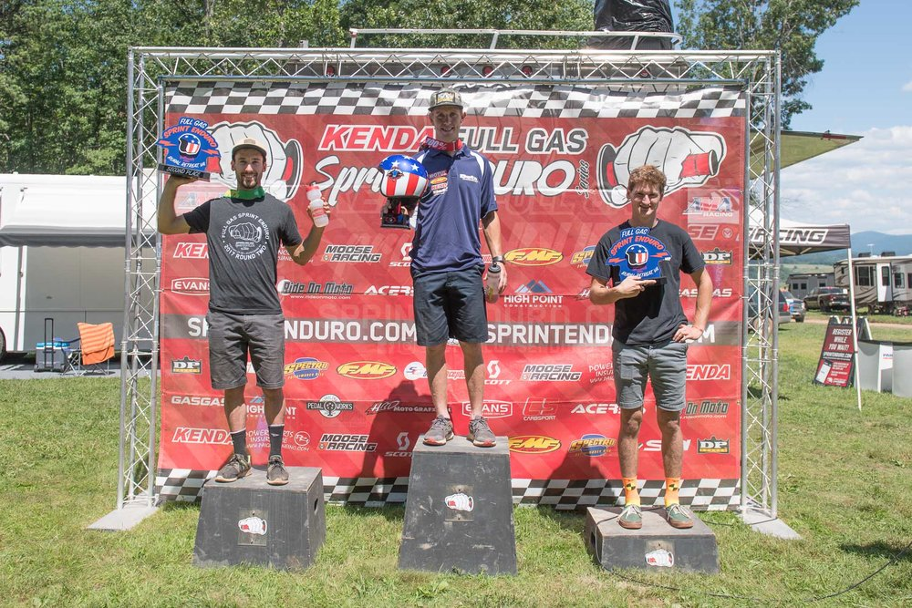 Overall men's podium (L-R): Ian Blythe (2nd), Jordan Ashburn (Winner) and Evan Smith (3rd). Photo: Shane Moore.