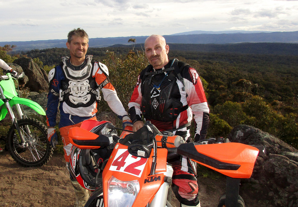 Watts (left) and the author during a recent trail ride near Maffra, Victoria.