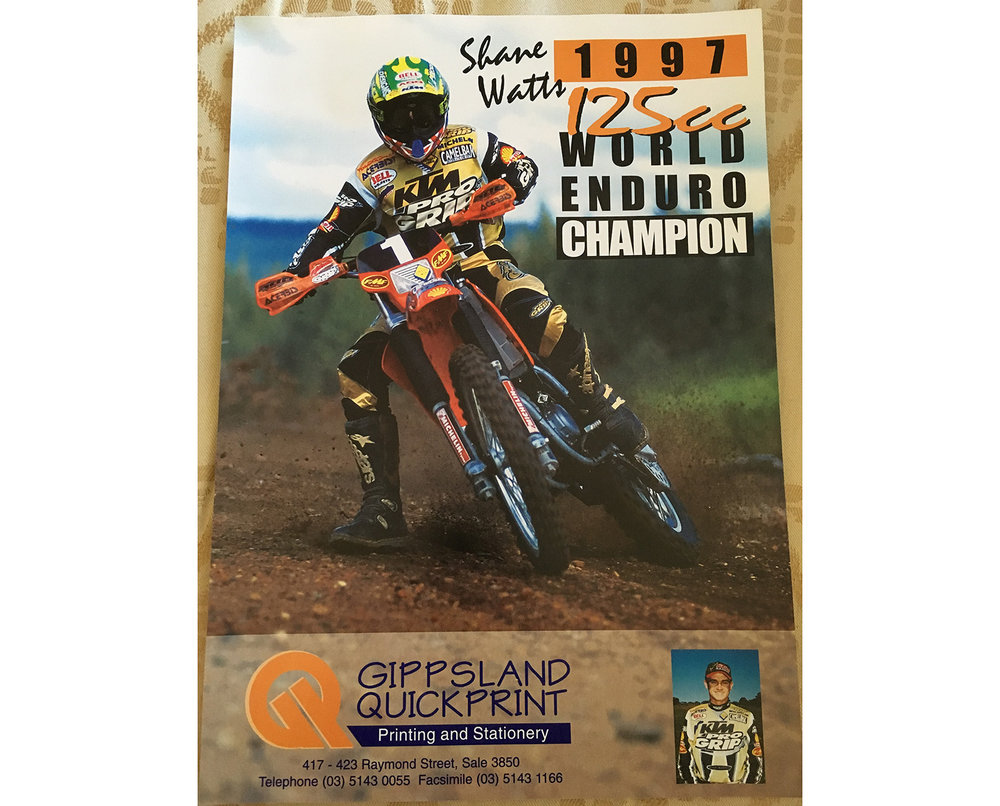 A 1998 poster after winning the 1997 125cc World Enduro title. Photo: Shane Watts.