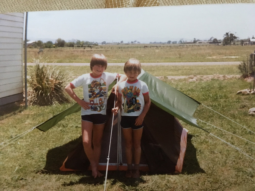1982 backyard camping with my older brother Darren. Photo: Shane Watts.